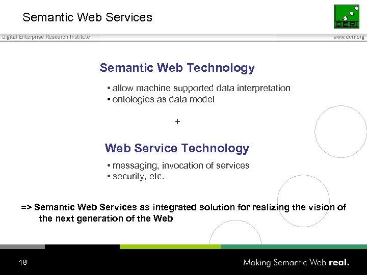 Semantic Web Services Semantic Web Technology • allow machine supported data interpretation • ontologies