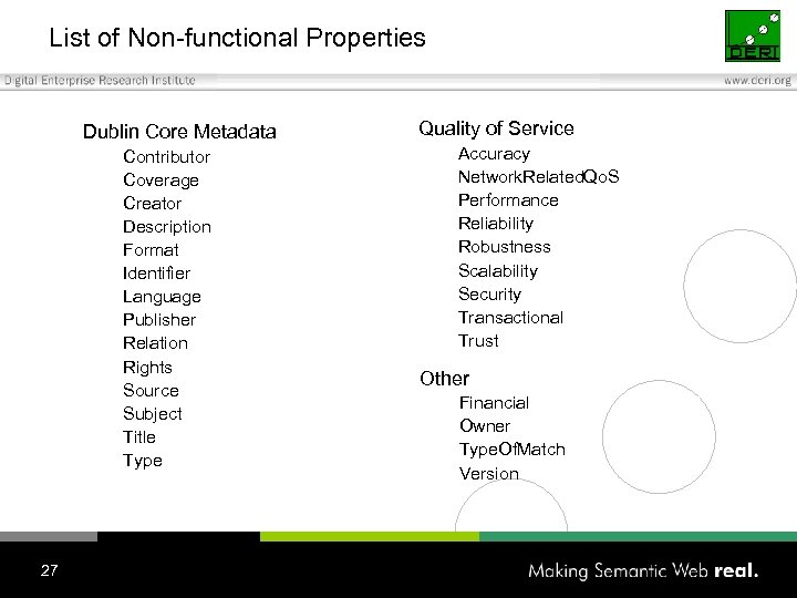 List of Non-functional Properties Dublin Core Metadata Contributor Coverage Creator Description Format Identifier Language