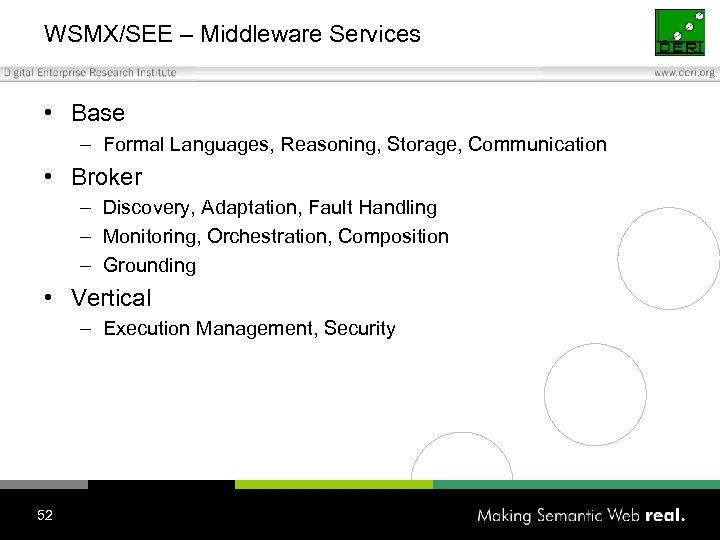 WSMX/SEE – Middleware Services • Base – Formal Languages, Reasoning, Storage, Communication • Broker