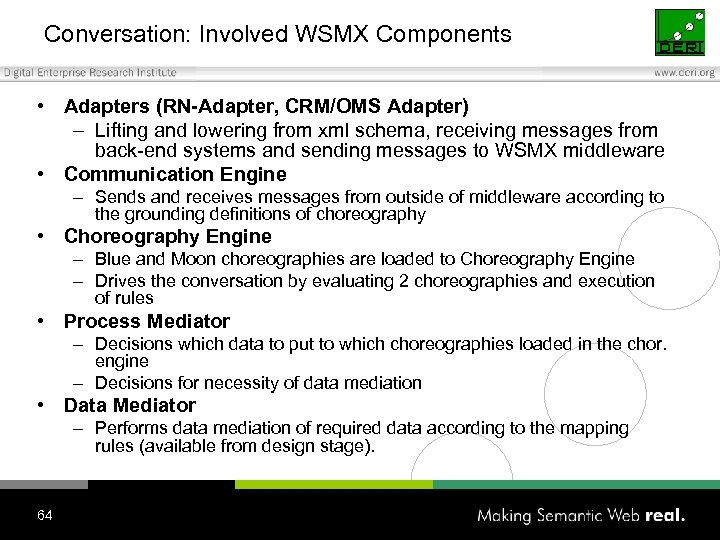 Conversation: Involved WSMX Components • Adapters (RN-Adapter, CRM/OMS Adapter) – Lifting and lowering from