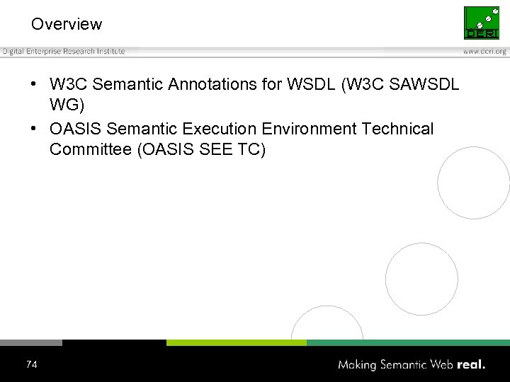 Overview • W 3 C Semantic Annotations for WSDL (W 3 C SAWSDL WG)