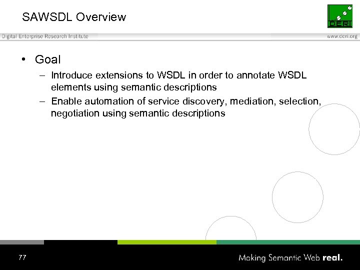 SAWSDL Overview • Goal – Introduce extensions to WSDL in order to annotate WSDL