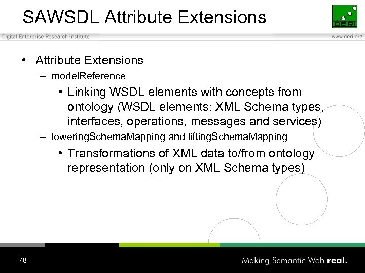 SAWSDL Attribute Extensions • Attribute Extensions – model. Reference • Linking WSDL elements with