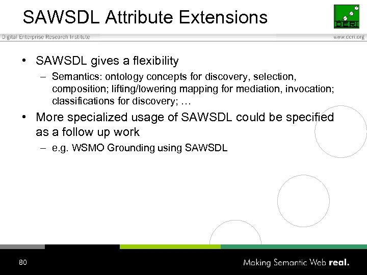 SAWSDL Attribute Extensions • SAWSDL gives a flexibility – Semantics: ontology concepts for discovery,