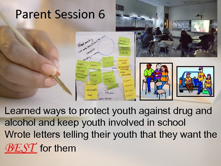 Parent Session 6 Learned ways to protect youth against drug and alcohol and keep