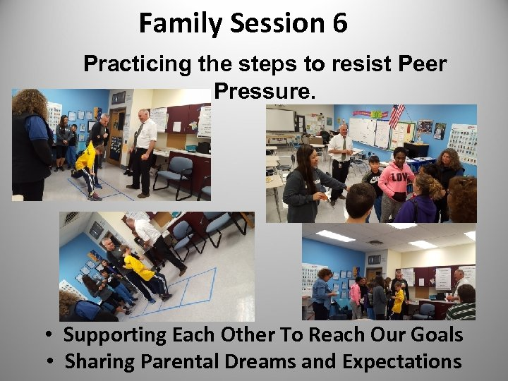 Family Session 6 Practicing the steps to resist Peer Pressure. • Supporting Each Other