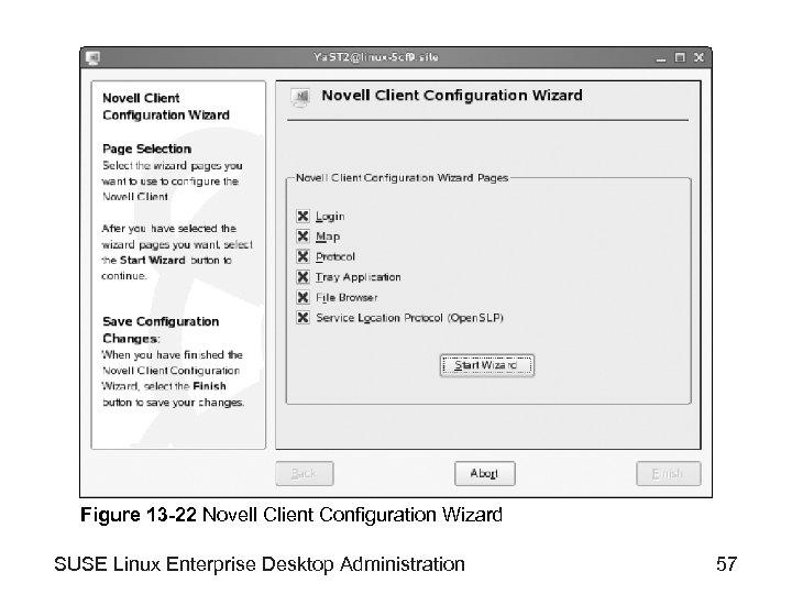 Figure 13 -22 Novell Client Configuration Wizard SUSE Linux Enterprise Desktop Administration 57