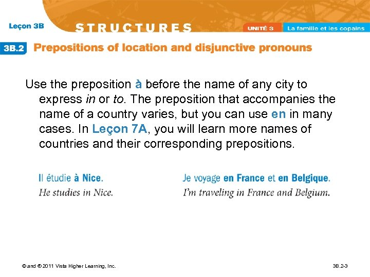 Use the preposition à before the name of any city to express in or