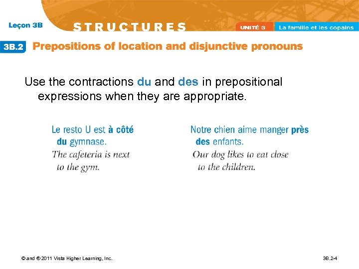 Use the contractions du and des in prepositional expressions when they are appropriate. ©