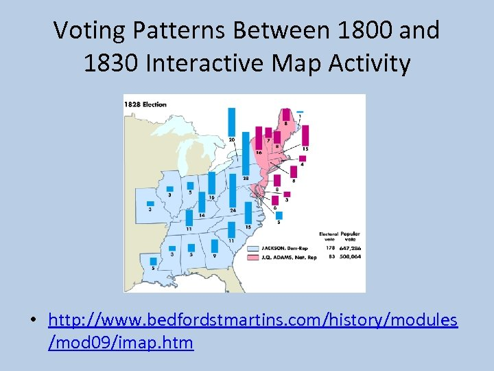 Voting Patterns Between 1800 and 1830 Interactive Map Activity • http: //www. bedfordstmartins. com/history/modules