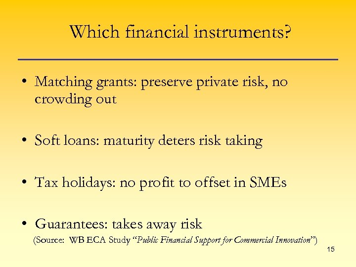 Which financial instruments? • Matching grants: preserve private risk, no crowding out • Soft