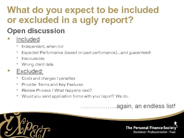 What do you expect to be included or excluded in a ugly report? Open
