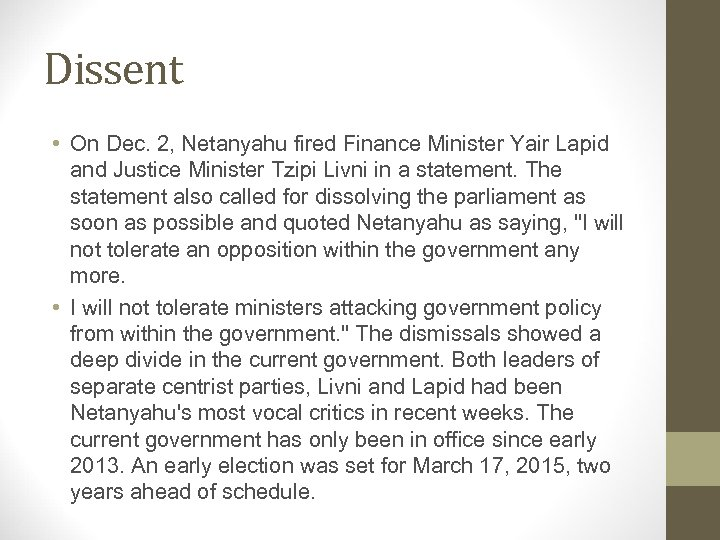 Dissent • On Dec. 2, Netanyahu fired Finance Minister Yair Lapid and Justice Minister