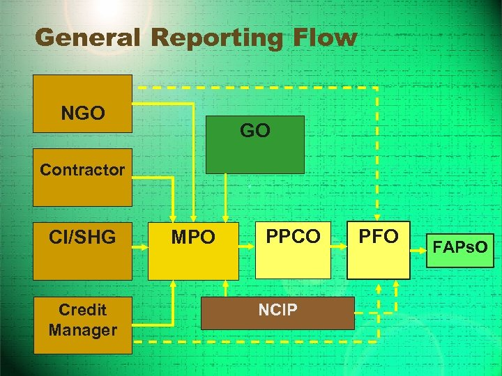 General Reporting Flow NGO GO Contractor CI/SHG Credit Manager MPO PPCO NCIP PFO FAPs.