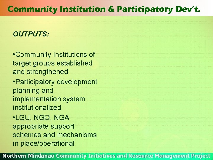 Community Institution & Participatory Dev't. OUTPUTS: • Community Institutions of target groups established and