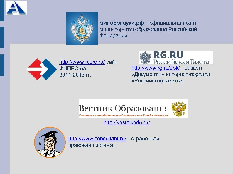 минобрнауки. рф – официальный сайт министерства образования Российской Федерации http: //www. fcpro. ru/ сайт