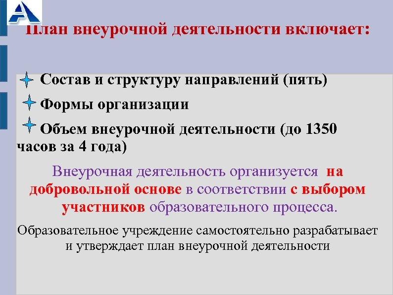План внеурочной деятельности включает: Состав и структуру направлений (пять) Формы организации Объем внеурочной деятельности