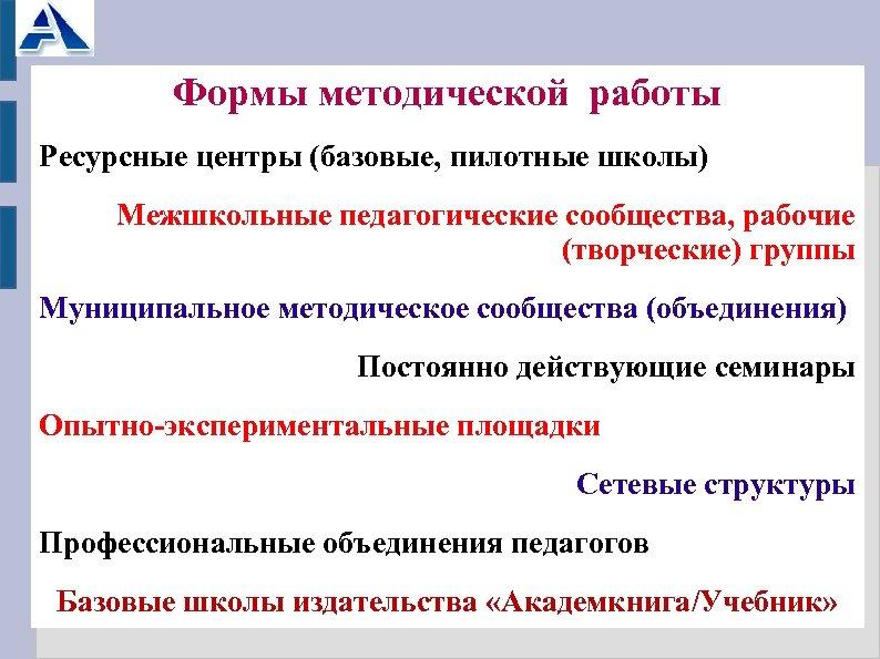Формы методической работы Ресурсные центры (базовые, пилотные школы) Межшкольные педагогические сообщества, рабочие (творческие) группы
