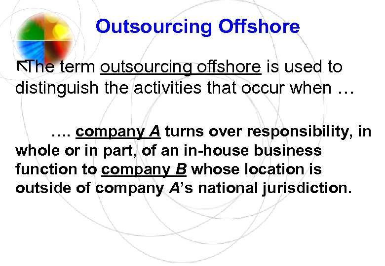 offshore outsourcing good or evil Outsourcing can also take the form of hiring contractors to complete repetitive or basic tasks many technology companies outsource aspects of their development work so that their in-house staff can focus on more important projects a huge range of tasks and processes can be outsourced.