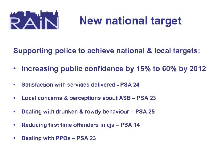 New national target Supporting police to achieve national & local targets: • Increasing public