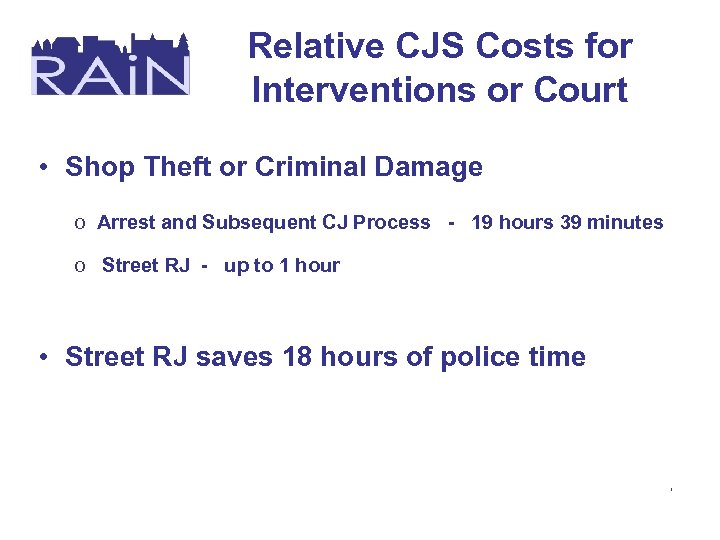 Relative CJS Costs for Interventions or Court • Shop Theft or Criminal Damage o