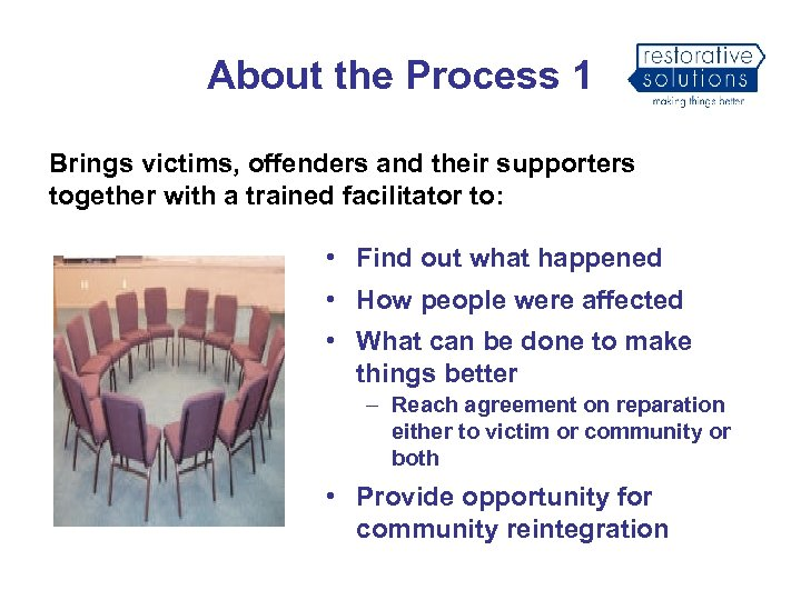 About the Process 1 Brings victims, offenders and their supporters together with a trained