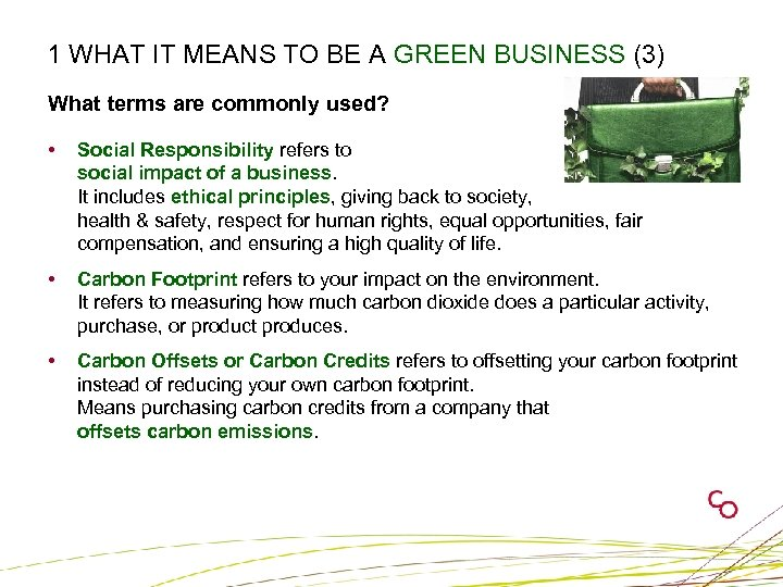 1 WHAT IT MEANS TO BE A GREEN BUSINESS (3) What terms are commonly