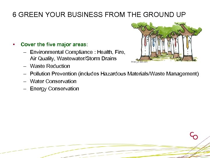 6 GREEN YOUR BUSINESS FROM THE GROUND UP • Cover the five major areas: