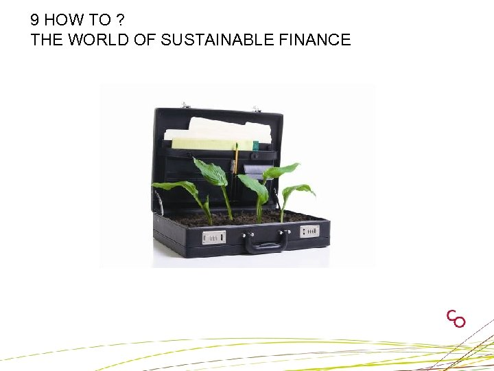 9 HOW TO ? THE WORLD OF SUSTAINABLE FINANCE