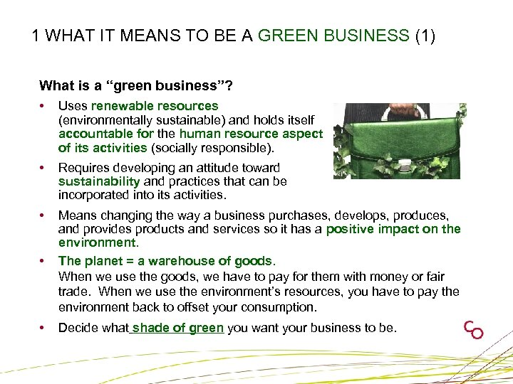 """1 WHAT IT MEANS TO BE A GREEN BUSINESS (1) What is a """"green"""