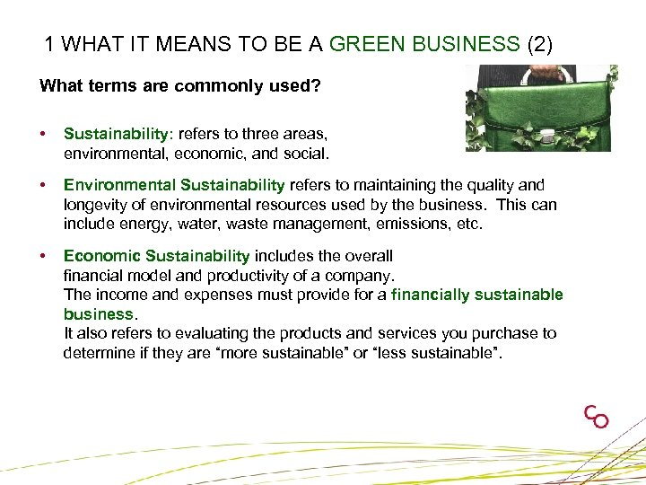 1 WHAT IT MEANS TO BE A GREEN BUSINESS (2) What terms are commonly