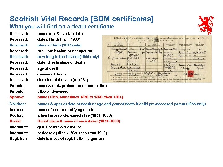Scottish Vital Records [BDM certificates] What you will find on a death certificate Deceased: