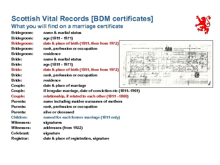 Scottish Vital Records [BDM certificates] What you will find on a marriage certificate Bridegroom: