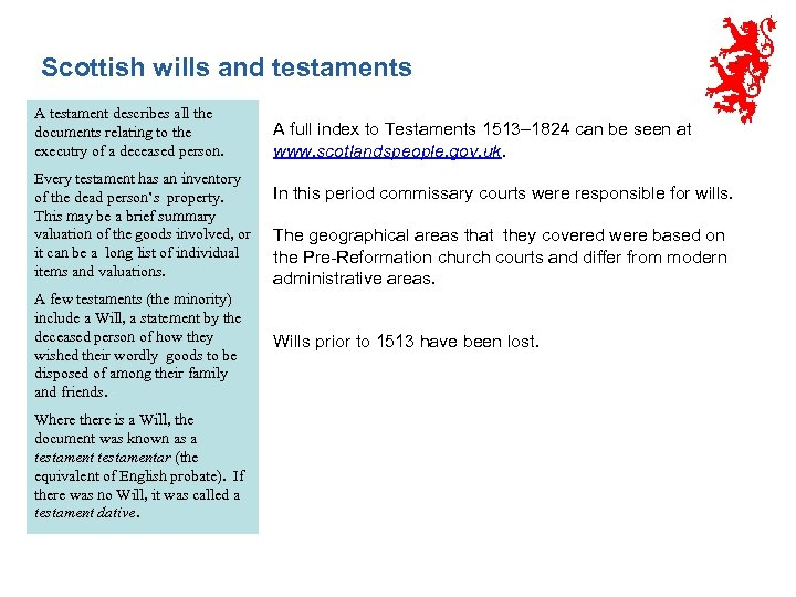 Scottish wills and testaments A testament describes all the documents relating to the executry