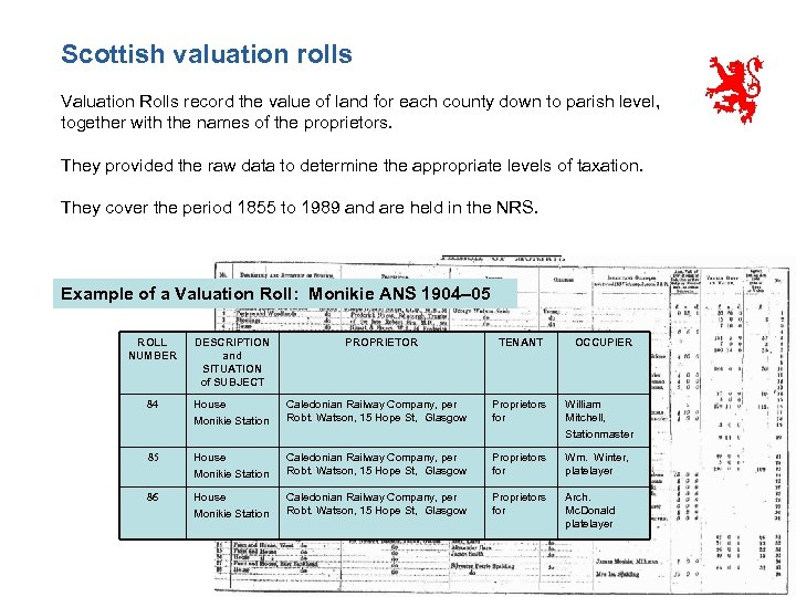 Scottish valuation rolls Valuation Rolls record the value of land for each county down