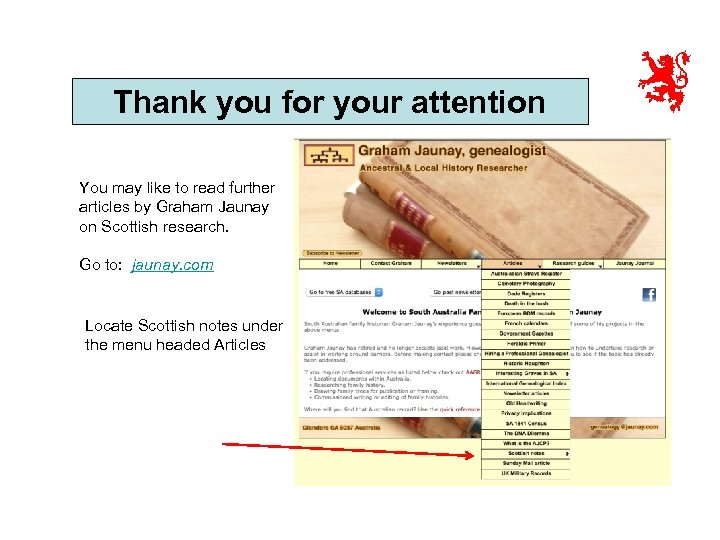 Thank you for your attention You may like to read further articles by Graham
