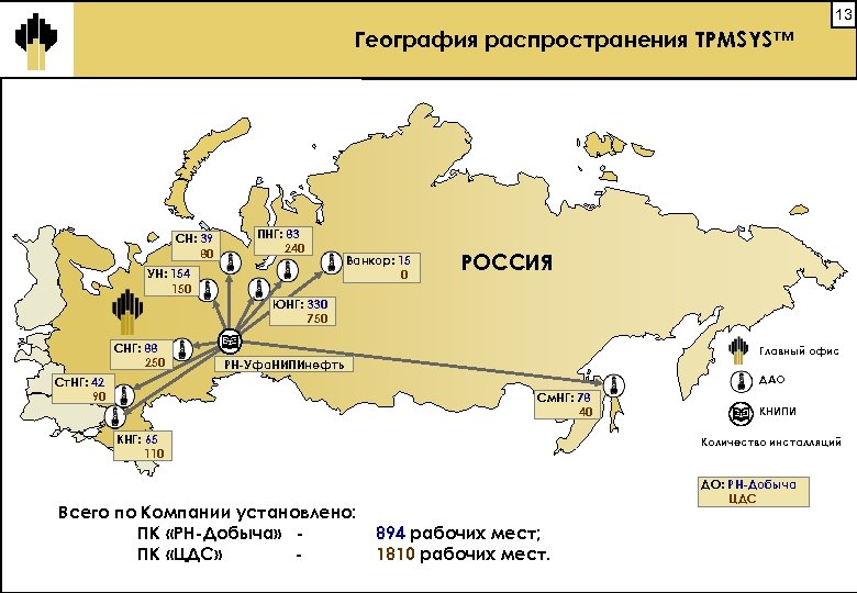 13 География распространения TPMSYS™ СН: 39 80 ПНГ: 83 240 УН: 154 150 Ванкор: