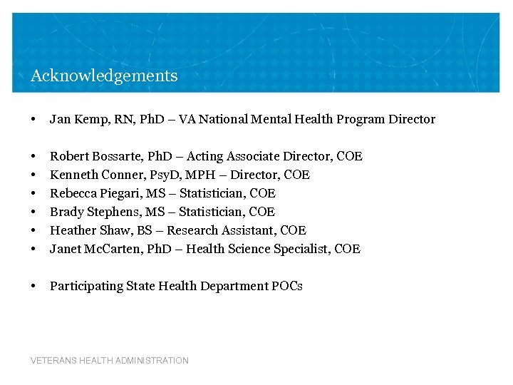 Acknowledgements • Jan Kemp, RN, Ph. D – VA National Mental Health Program Director
