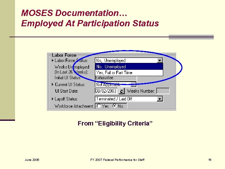 """MOSES Documentation… Employed At Participation Status From """"Eligibility Criteria"""" June 2006 FY 2007 Federal"""