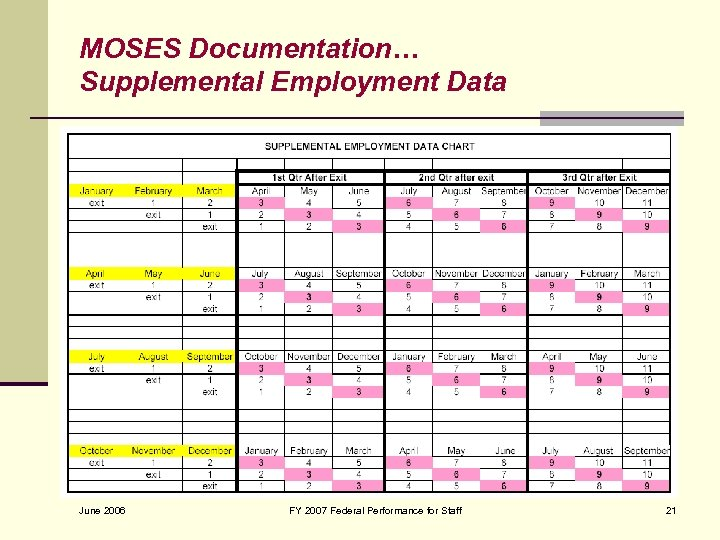 MOSES Documentation… Supplemental Employment Data June 2006 FY 2007 Federal Performance for Staff 21