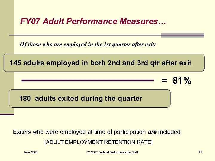 FY 07 Adult Performance Measures… Of those who are employed in the 1 st