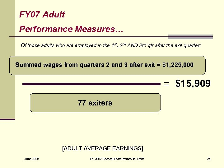 FY 07 Adult Performance Measures… Of those adults who are employed in the 1