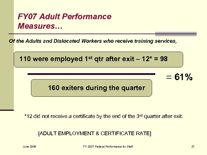 FY 07 Adult Performance Measures… Of the Adults and Dislocated Workers who receive training