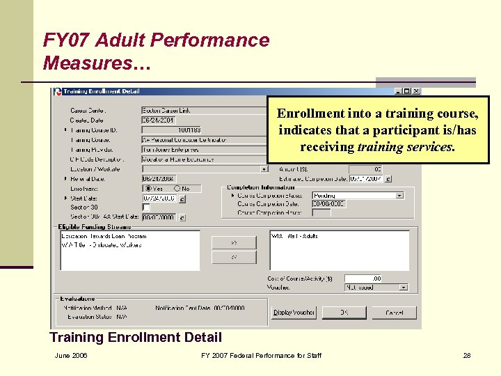 FY 07 Adult Performance Measures… Enrollment into a training course, indicates that a participant