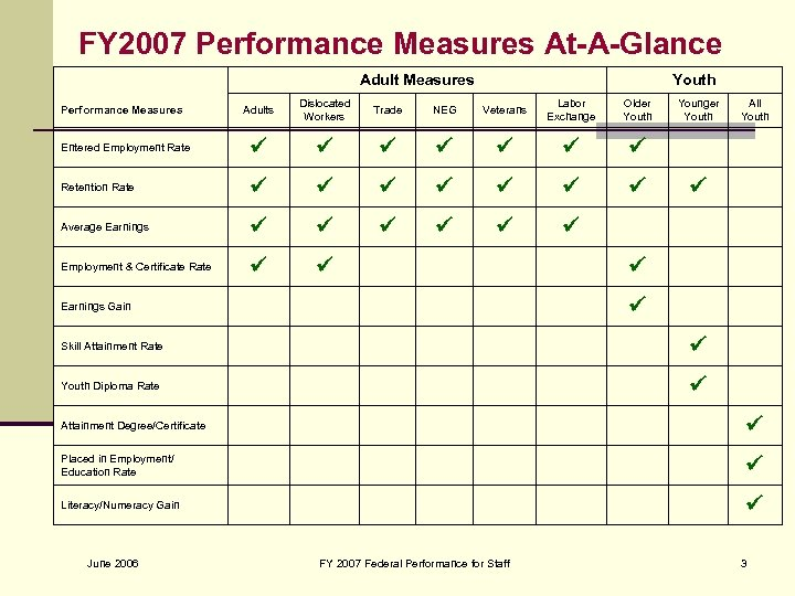 FY 2007 Performance Measures At-A-Glance Adult Measures Youth Adults Dislocated Workers Trade NEG Veterans