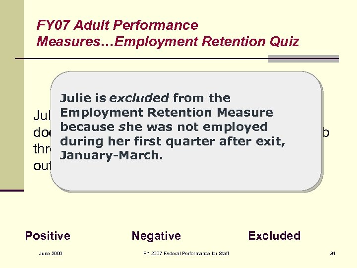 FY 07 Adult Performance Measures…Employment Retention Quiz Julie is excluded from the Julie. Employment