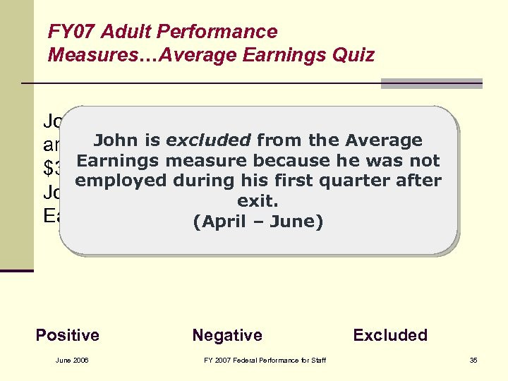 FY 07 Adult Performance Measures…Average Earnings Quiz John is a dislocated worker. He exits