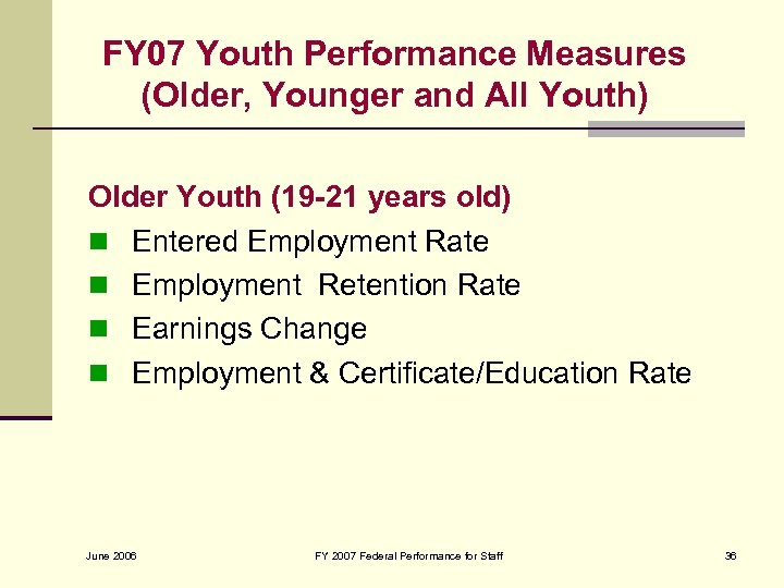 FY 07 Youth Performance Measures (Older, Younger and All Youth) Older Youth (19 -21