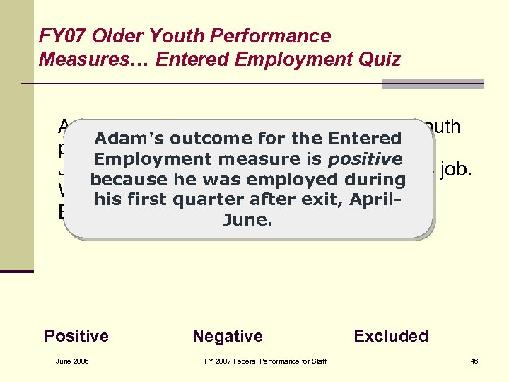 FY 07 Older Youth Performance Measures… Entered Employment Quiz Adam, an Older Youth, entered