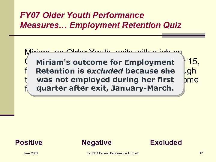 FY 07 Older Youth Performance Measures… Employment Retention Quiz Miriam, an Older Youth, exits